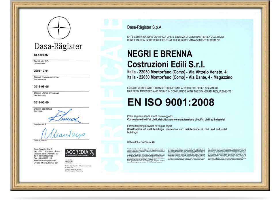 Certificazione della qualità Costruzioni Edili Negri e Brenna
