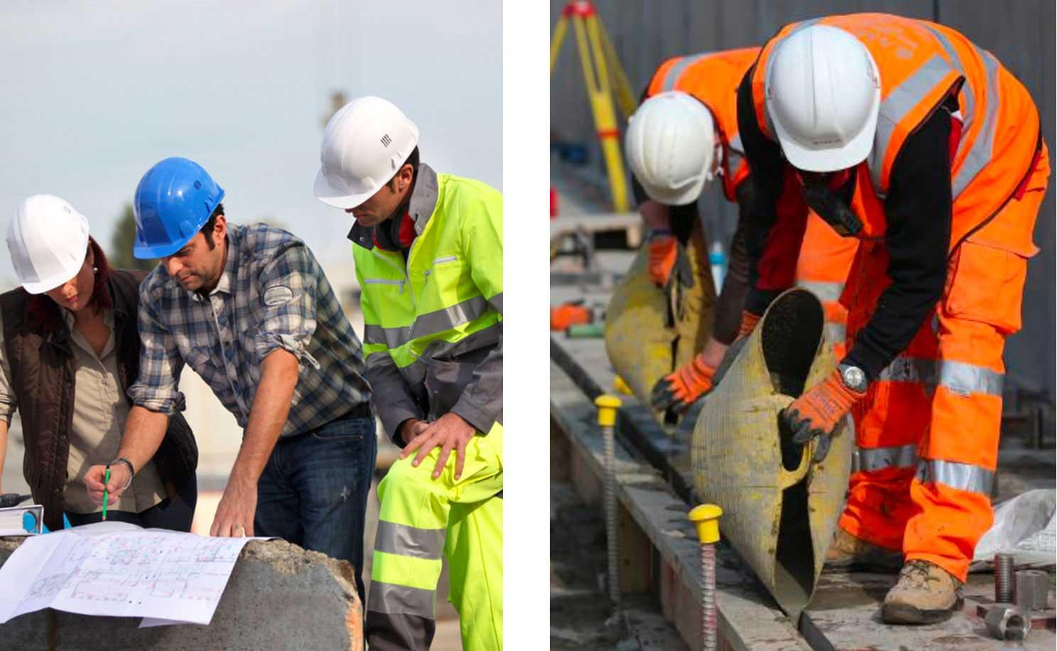 Operai al lavoro in un cantiere di Negri e Brenna Costruzioni Edili